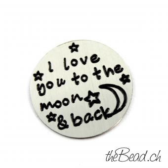 """ i love you to the moon and back "" Inlay für alle runden La Vie Medaillons"
