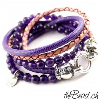 amethyste and leather bracelet theBead
