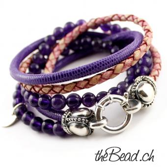 leather and amethyste bracelet by thebead