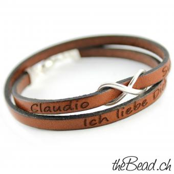 leather bracelet with your personal engraving