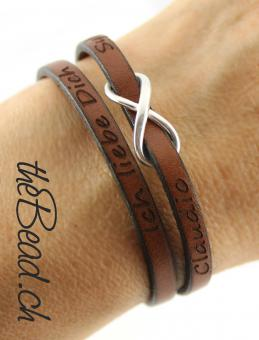 leather bracelet with engraving swiss made by thebead