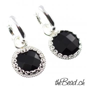 facettierte ONYX Ohrstecker, 925 Sterling Silber