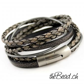 Braided Leather bracelet vintage series grey
