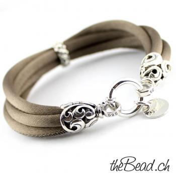 Armband aus echter Seide & 925 Sterling Silber, taupe