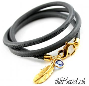 Damen Lederarmband GOLD FEATHER