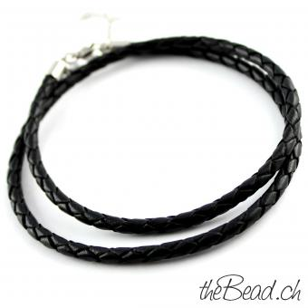 Anklet made of leather, black