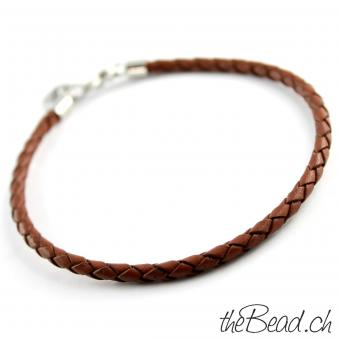 Anklet made of leather, light brown