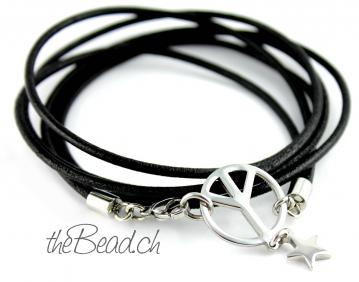 Lederarmband PEACE COLLECTION in Schwarz