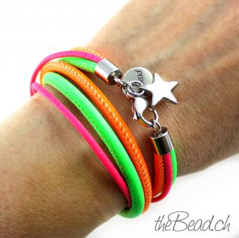 SALE! Damen Lederarmband NEON POWER