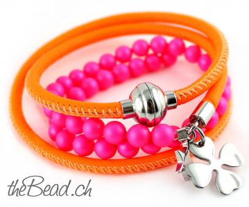 SALE! Neon - Wickelarmband FUNKIE Orange & Pink