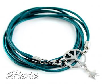 Lederarmband PEACE COLLECTION in Petrol
