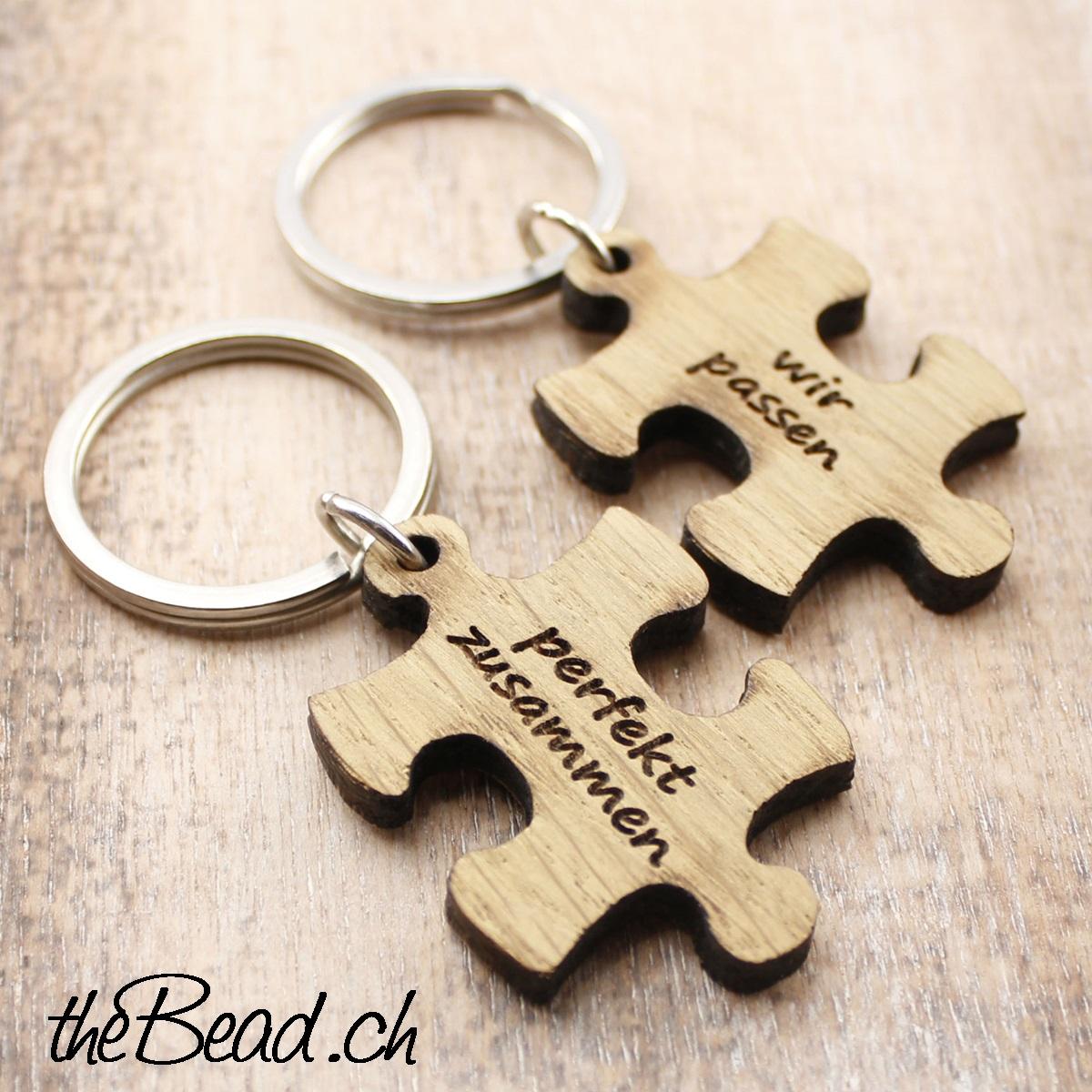 Zwei Schlüsselanhänger Puzzle Mit Der Gravur Schmuck Kaufen