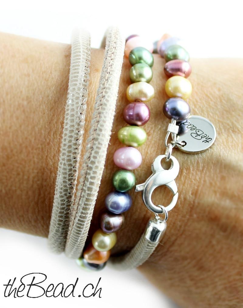 Lederarmband F 252 R Damen Mit Echten Perlen Schmuck Kaufen