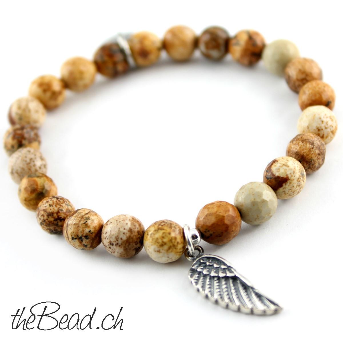 Schmuck kaufen schweiz  925 Silber Feder Perlenarmband-♥- Schmuck Geschenkidee kaufen