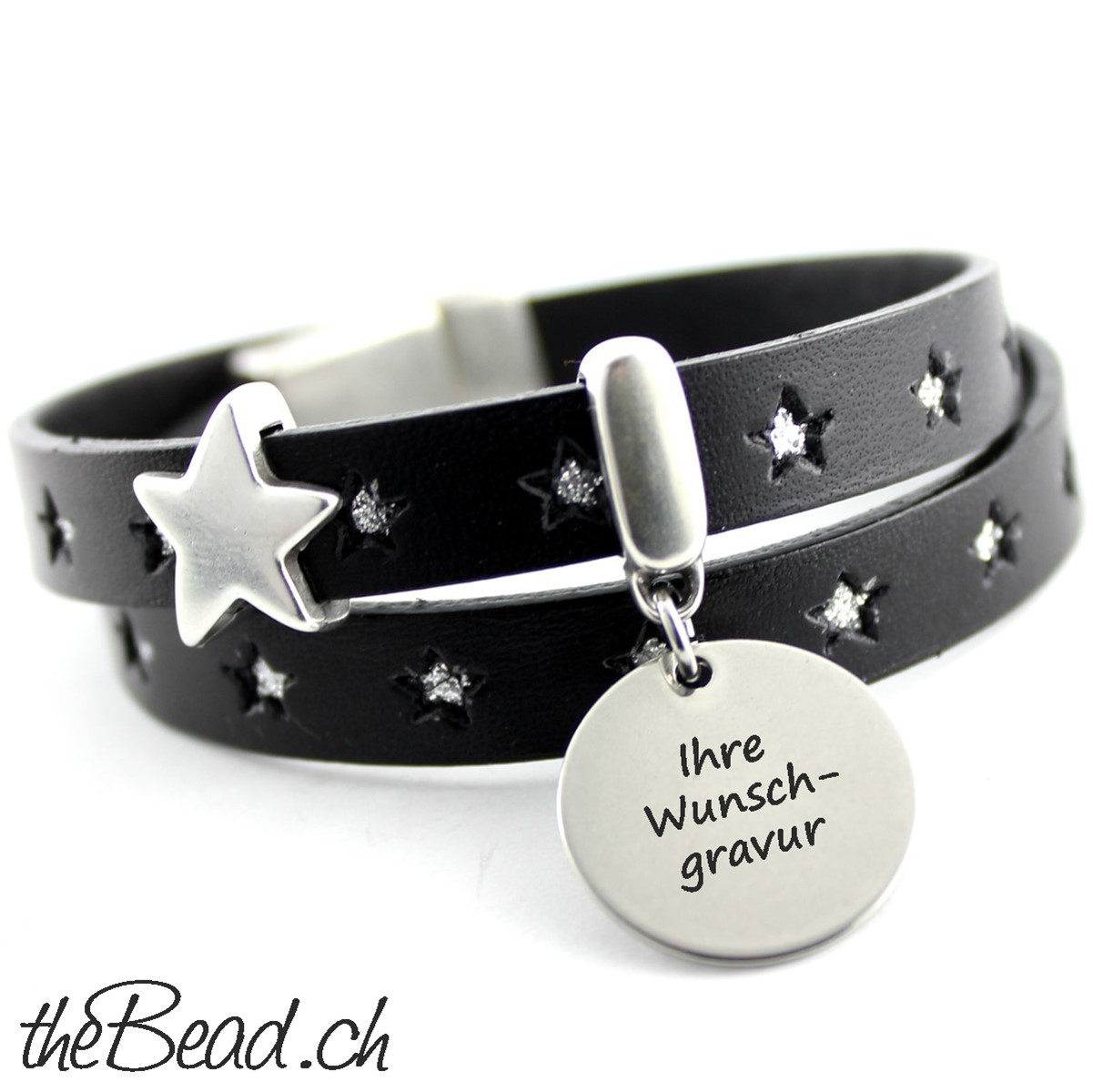wickelarmband stars mit gravur anh nger schmuck kaufen bestelle geschenkidee. Black Bedroom Furniture Sets. Home Design Ideas
