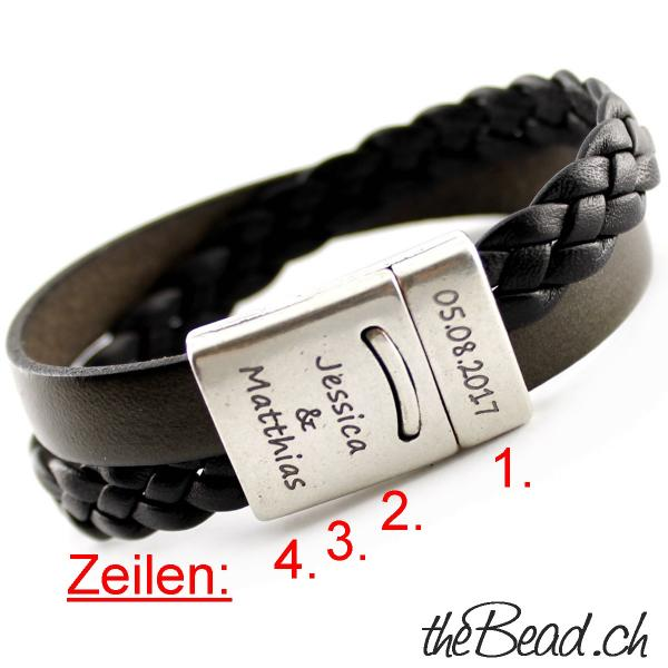 Leather Bracelet with clasp engraving