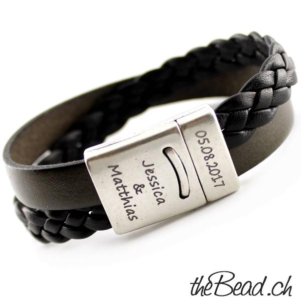Leather Bracelet for men and women with engraving personal