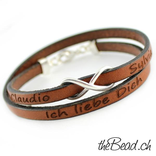 thebead wrap leather bracelet with engraving