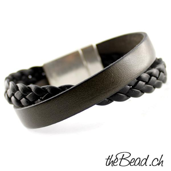 Leather Bracelet black swiss made
