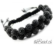 doppelreihiges armband in schwarz thebead