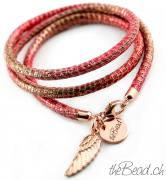 Leder im Metallic - Look in rot und rosegold theBead