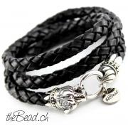 Tiger Kopf Herren Lederarmband in schwarz the Bead